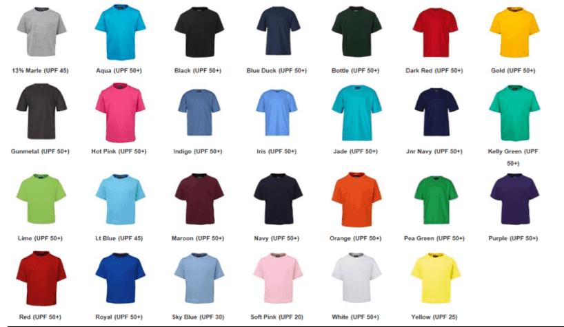 Kids T Shirt Colours